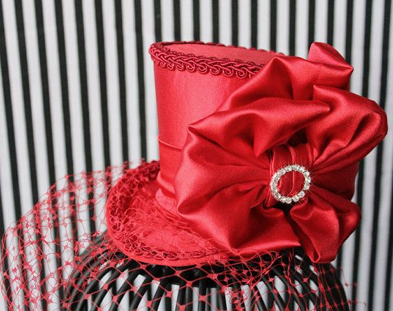 Red Mini Top Hat Wedding Top Hat Mini Hats by LittleMissHattitude, $68.00