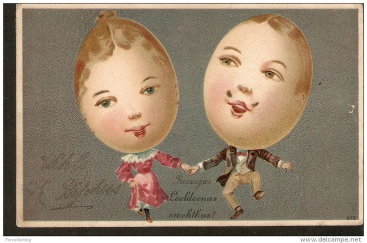 b18. Antique Easter Greetings postcard - Fantasy Humanized Dressed Eggs people - 1900s - Rare