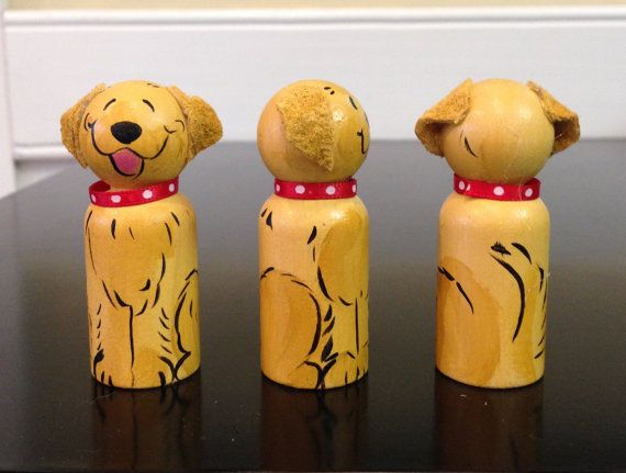 Golden Retriever wooden peg doll 2.5 inches by JennysDogArt