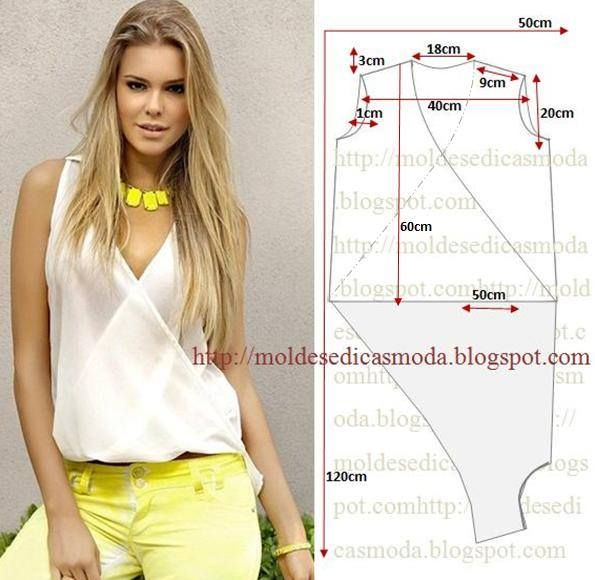 Modelagem de blusa transpassada. Fonte: https://www.facebook.com/photo.php?fbid=735552723140335&set=a.262773027084976.75978.143734568988823&type=1&theater