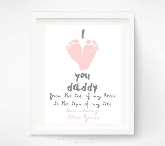 Personalized Fathers Day Gift for New Dad - I Love You Daddy Baby Footprint Art Print - Gift for Father, Daddy, Papa