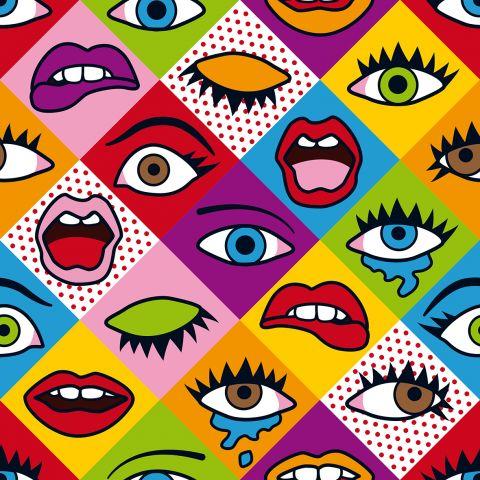 """Stoffmuster """"Augen"""" von SaNe-Stücke im Pop-Art Stil der 80er Jahre"""