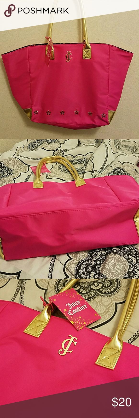 Juicy Couture Tote Bag Pink with gold tote bag, New never used. Authentic! Juicy Couture Bags Totes