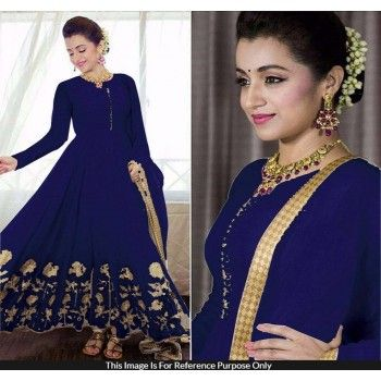 Trisha Krishnan 60 Gm Georgette Zari Work Royal Blue Unstitched Long Anarkali…
