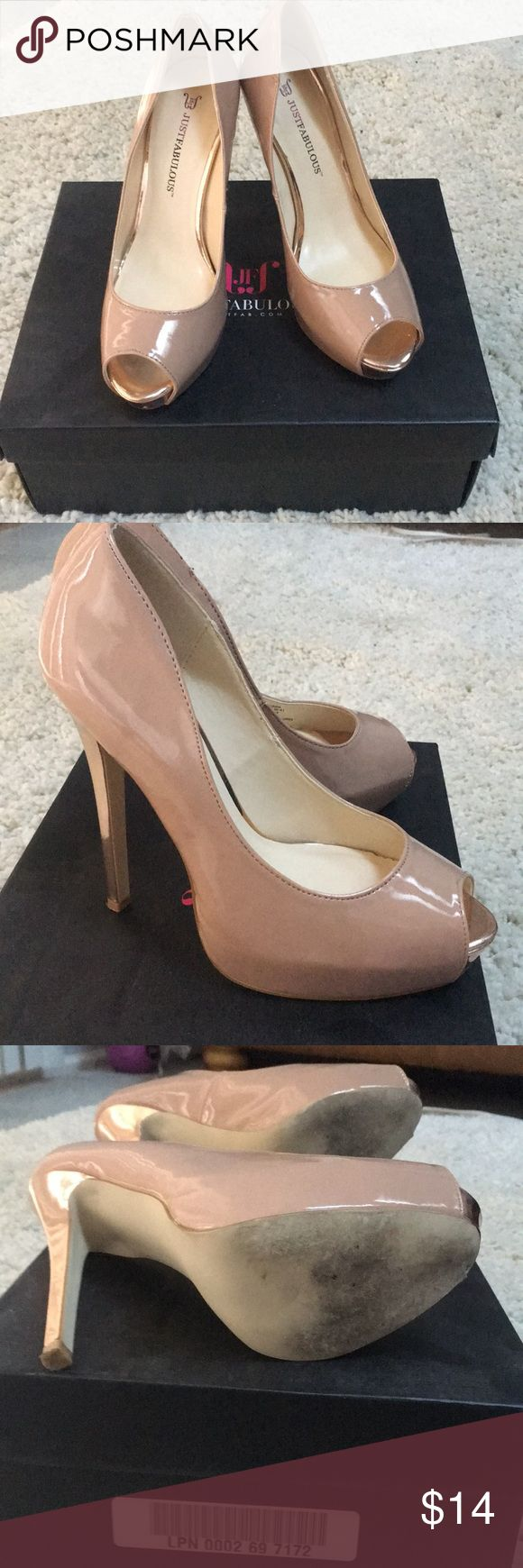 💋 Nude x Rose Gold Peep Toe Heel Pumps 💋 Very sexy shoe. Can be dressed up or work casually with a pair of jeans. Perfect fir for any closet!! JustFab Shoes Heels