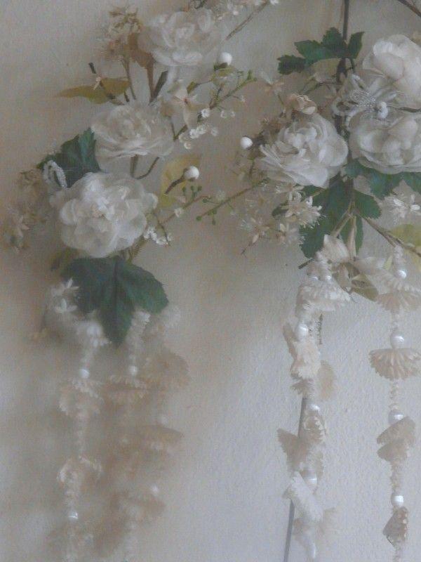 antique wedding bouquet antieke wasbloemen boeket   verkochte artikelen/sold   De Merel Brocante webwinkel