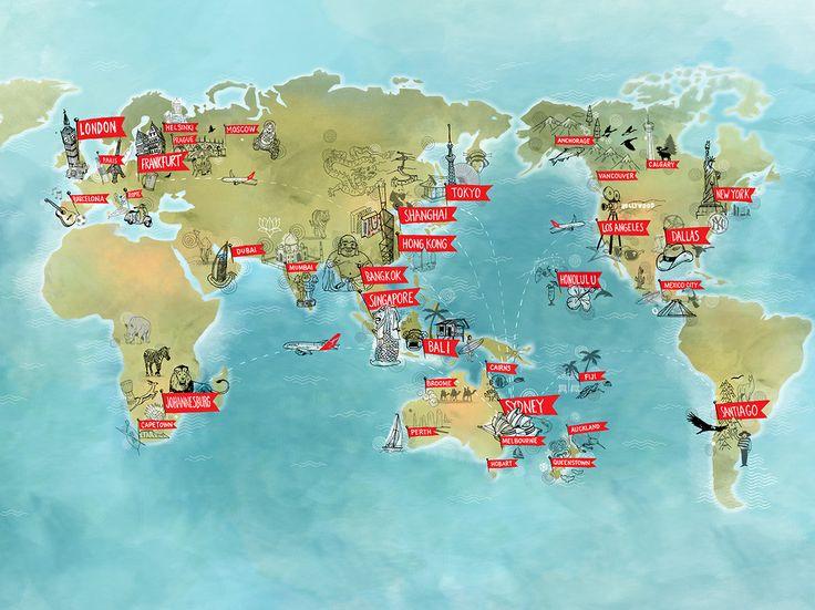 Global Map for Qantas flight promotion.