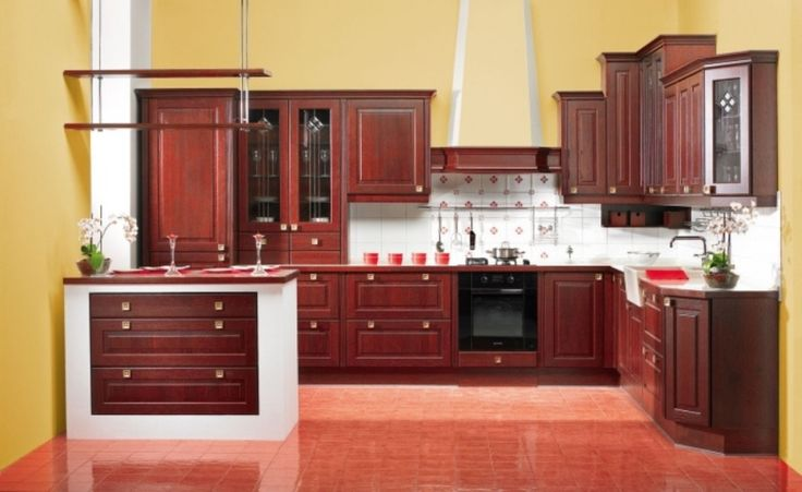 kitchens painted yellow with cherry wood cabinets | Kitchen Paint Color Design With Dark Brown Kitchen Cabinets Kitchen ...