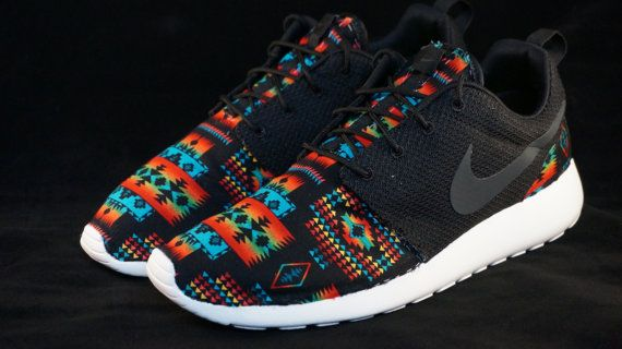 New Nike Roshe Run Custom Black Orange Red Hawaiian Edition     Base Color: Black/White/Anthracite     Fabric Print: Black/Multicolor Tribal Print
