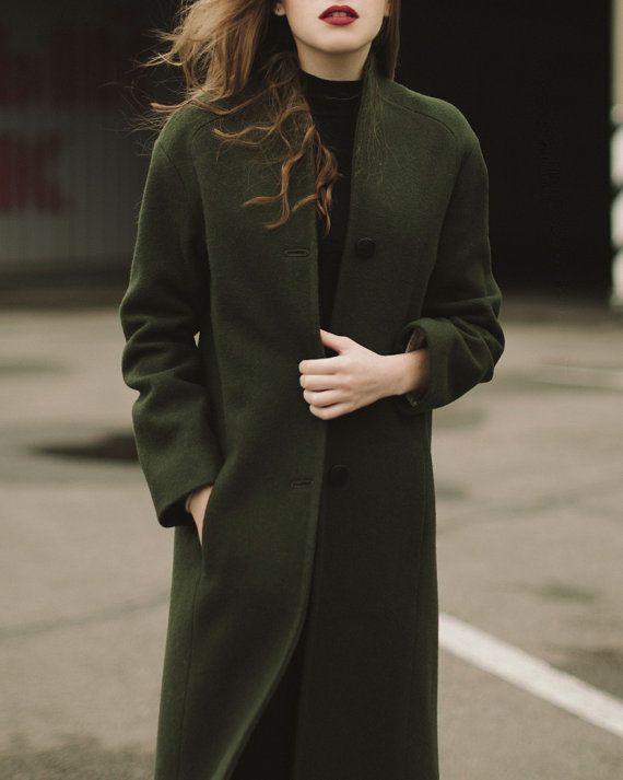 Damen Mantel grüner Mantel Frauen wolle von SumarokovaAtelier