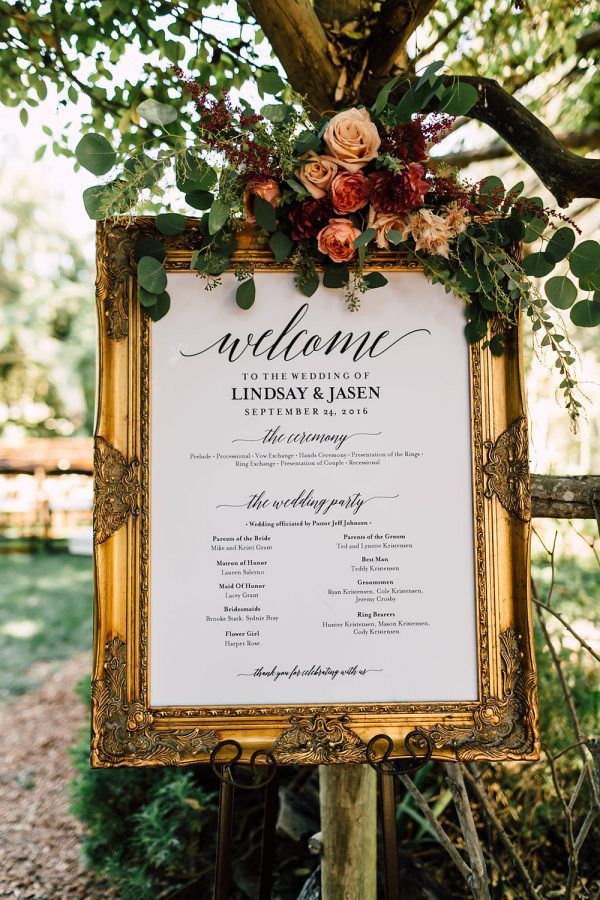Wedding ceremony program sign | Carla Kayes Floral Design via Ruffled