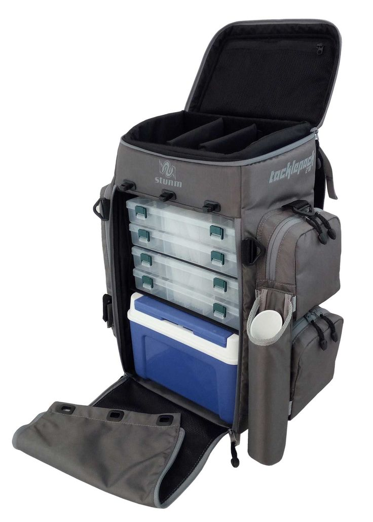Stunm Tacklepack 270 - Fishing Tackle Bag / Backpack - Tackle bags for angling. Tackle boxes, removable rod holder, Made in SA. Best fishing tackle bag.
