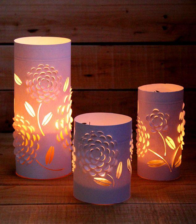 DIY: Dimensional Paper Lantern tuto pour faire des lanternes en papier avec manière de découper le papier pour avoir des motifs en 3D
