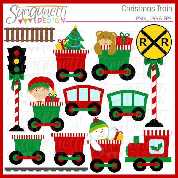 Christmas Train Clipart - adorable Christmas Clipart for web design, newsletters and crafts.