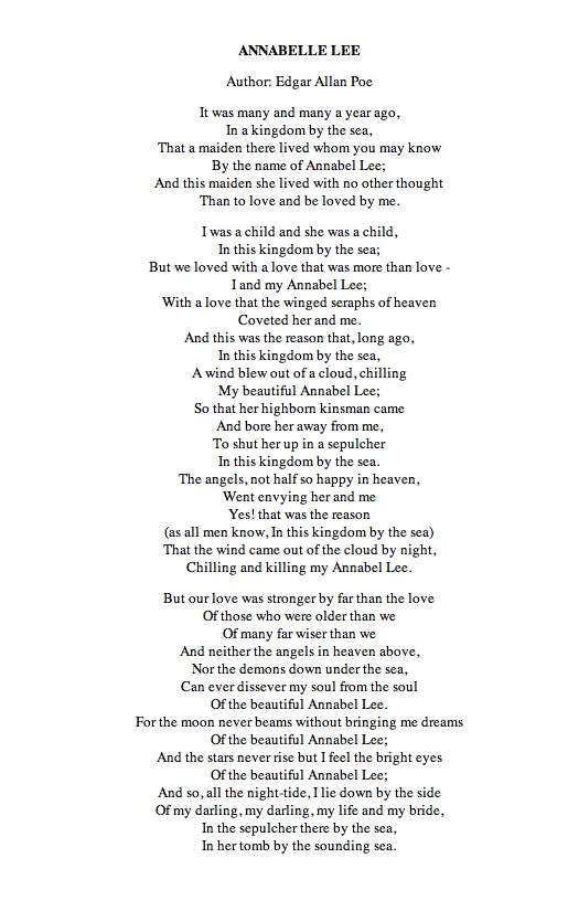 annabel lee and romanticism Annabel lee by edgar allan poe it was many and many a year ago in a kingdom by the sea that a maiden there lived whom you may know by the name of annabel lee and this maiden she.