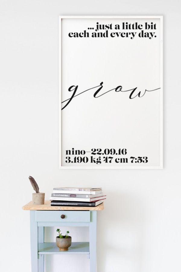 Bei Yourownage kannst du dir dein individuelles Baby-Poster gestalten und auf Fine-Art-Papier drucken lassen. #baby #poster #birth #geburt #artprint #typografie #typography #grafikdesign #yourownage #plakat #geschenk #geschenkidee