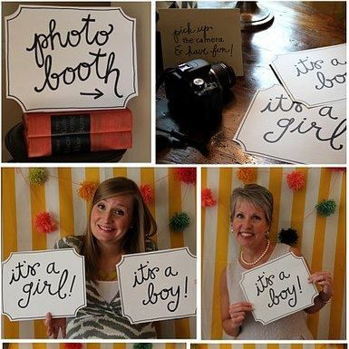 People can make predictions about date/sex/weight etc. via photobooth signs or chalkboards.