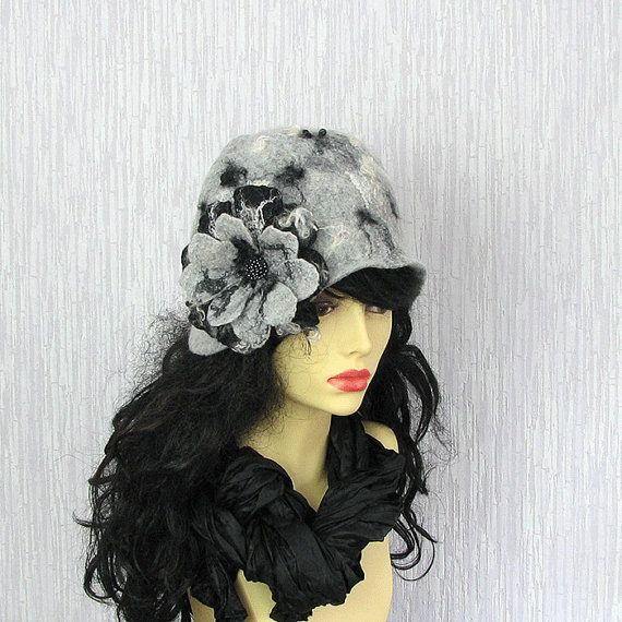 Felted Cloche Hat Women Hat Flapper Hat Retro by AlbadoFashion