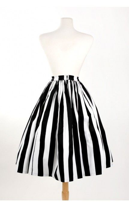 Pinup Couture- Vintage Goth Pinup Capsule Collection Jenny Skirt Black and White Stripe Twill Sateen | Pinup Girl Clothing