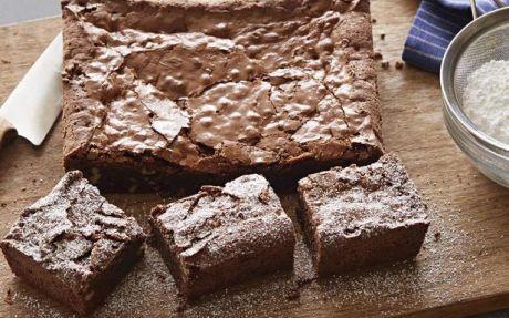 Amaretto chocolate brownies with walnuts
