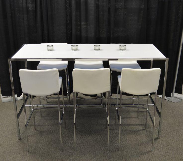 White Plexi & Chrome Communal Table