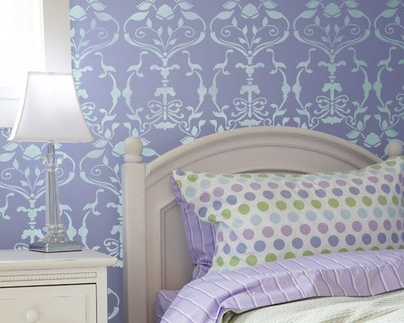 large wall stencil splendor damask allover by