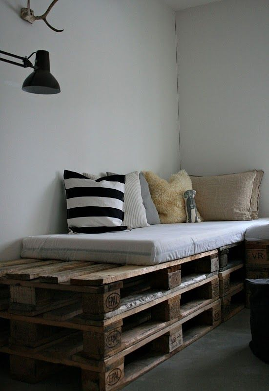 Inspiration for bench in bay window but built out to fit with open storage below - Pallet sofa