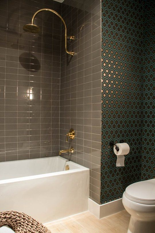 liking the tile and wallpaper, not really the brass or the other parts of the bathroom-- good bathroom inspiration for the hall