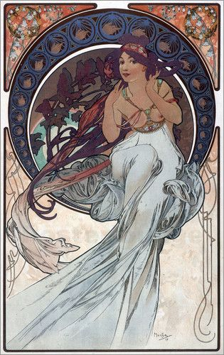 """""""Music"""" (1898) by Alphonse Mucha """"A passionate musician himself, Mucha chose to personify music as a woman with both hands raised to her ears listening to a chorus of nightingales, the most creative and spontaneous of songbirds."""""""