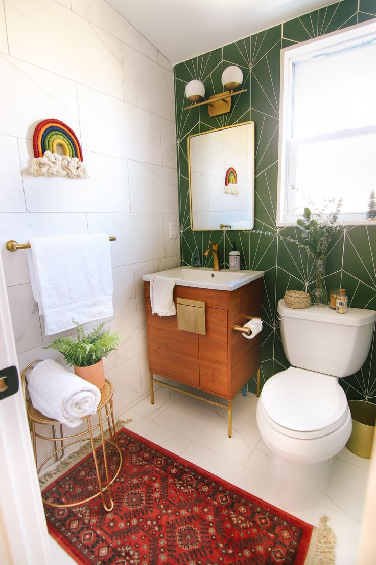 Our Guest Bathroom Reveal Steffy S Pros Cons Guest Bathroom Small Boho Bathroom Add A Bathroom