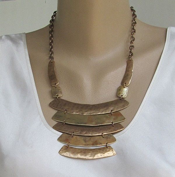 Chico's Mixed Metal Mod Necklace Silver Antiqued Brass Designer Jewelry