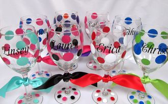 Personalized Wine Glasses - fun for bachelorette parties, bridesmaid gifts, 21st birthday gift, and even Mom!