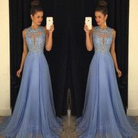 Lavender 2016 Prom Dresses Lace Applique Beads 2015 Formal Long Bridesmaid Dresses A Line Crew Neck Zip Back Chiffon Party Gowns