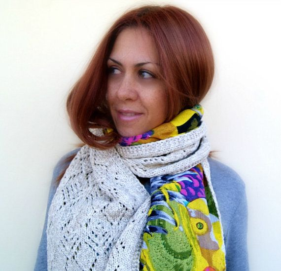 Doublesided knitted & printed fabric scarf in cream color by Kikoa, $65.00