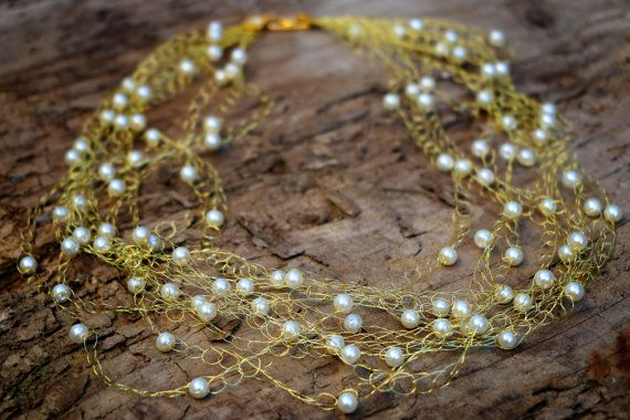 Long Gold Multi Strand Crocheted Necklace with by nZuriArtDesigns