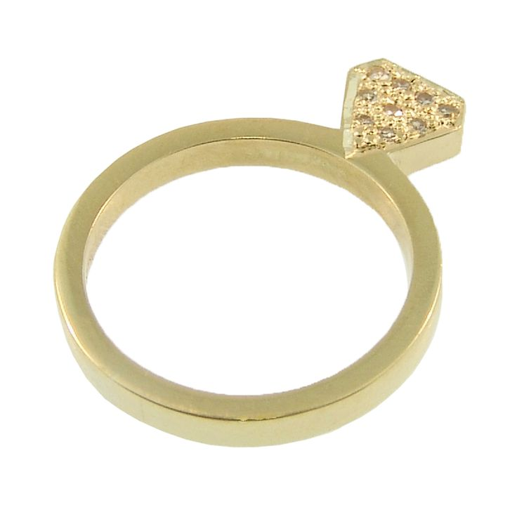 18ct Yellow Gold Diamond Shaped Pave Set Round Brilliant Diamond Ring. Handmade at Cameron Jewellery (side two).