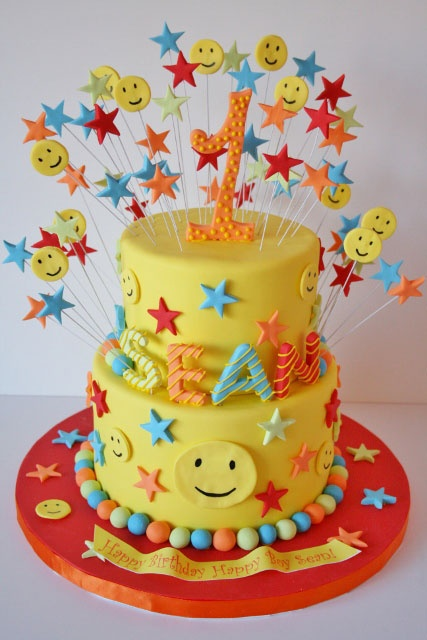 Birthday Cakes NJ - Smiley Face First Custom Cake
