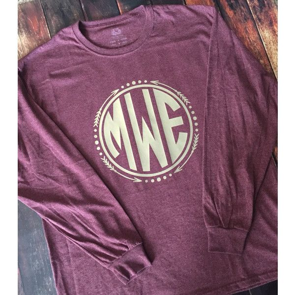 Long Sleeve Arrow Circle Monogram T-Shirt Womens Vinyl ($23) ❤ liked on Polyvore featuring tops, t-shirts, white, women's clothing, tall tees, unisex t shirts, tall tops, white t shirt and white long sleeve top