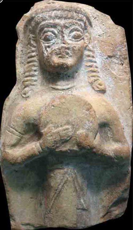 Carchemish, Southeastern Anatolia, Gaziantep (province) Date 2000 BC-1000 BC  Baked clay female figure with tambourine Image via Layne Redmond archives layneredmond.com