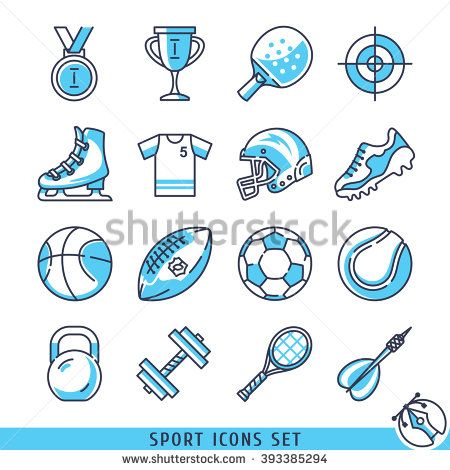 Sport icons set lines vector illustration - stock vector