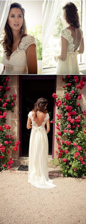 V Neck Open Back Custom Made Bridal Wedding Gown With Beaded Belt Prom Dress