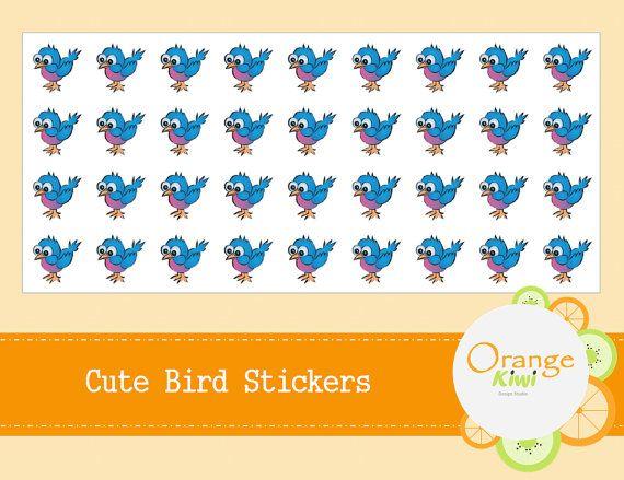 Cute Bird Stickers  Blue Bird Stickers  by OrangeKiwiDesign