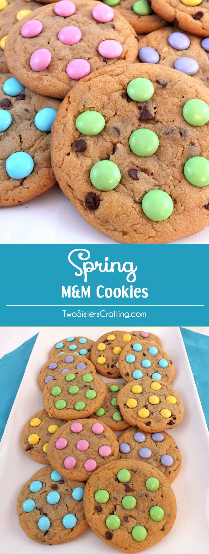 Our Spring M&M Cookies are soft, chewy, chock full of chocolate and taste as good as they look. An easy and colorful Easter Dessert, Spring Cookie or Mother's Day treat. Pin this yummy Easter Cookie for later and follow us for more Easter Food ideas.  #food #drink #yummy