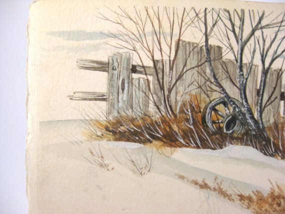 Vintage watercolor painting - signed Cal Schultz - fall/autumn/winter scene, wagon wheel, fence, trees, snow - original watercolor