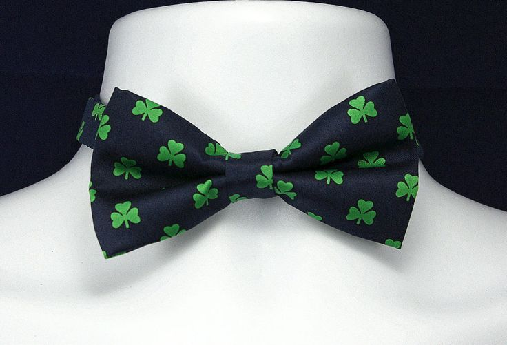 New St. Patrick's Day Mens Bow Tie Pre Tied Adjustable Shamrocks Blue Bowtie  #DangiiMan #BowTie