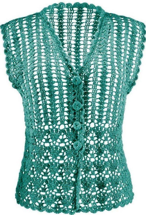 Düşük kollu yeşil renkli bayan tığ işi yelek modeli
