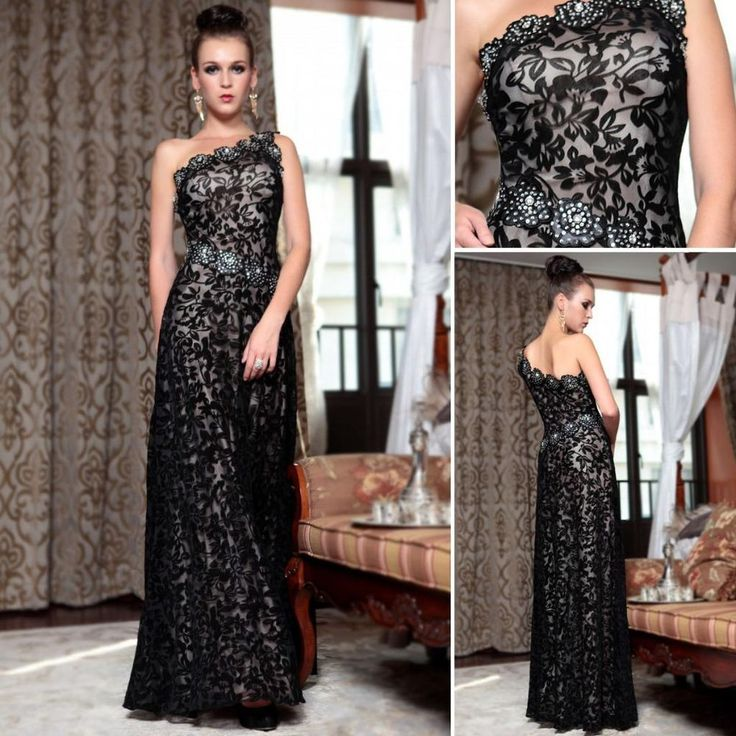 Long Black Evening Formal Party Prom Dress Satin Flower Mesh Beading 30856