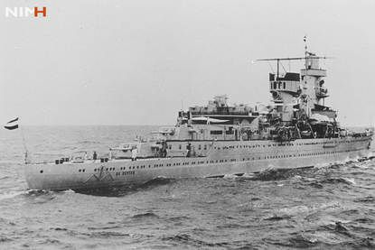 Dutch Far East Flagship Hr.  Ms.  De Ruyter, sunk during the Battle of the Java Sea on February 27, 1942.