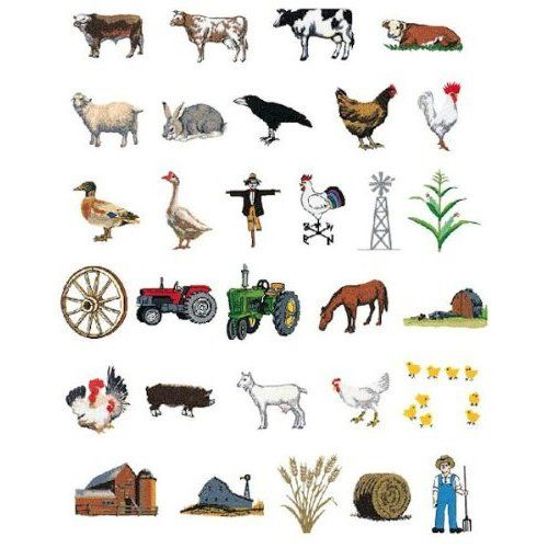 Farm Embroidery Designs on a Brother Embroidery Card SA342
