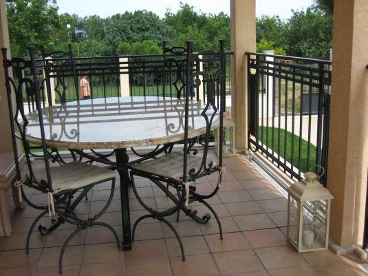 Wrought iron patio furniture.